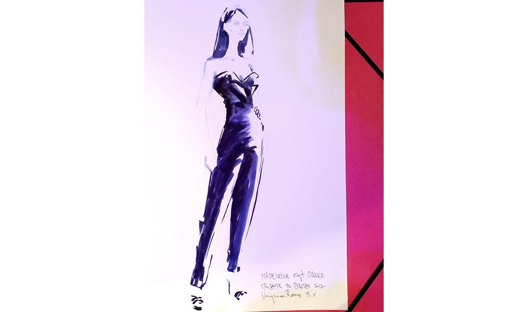 Live sketch event Virginia Romo Fashion Illustration at Tribute to Bambi Award 2017