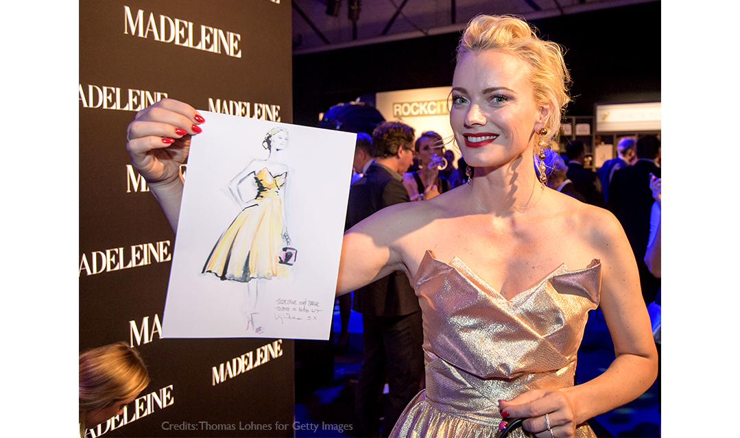 Live sketch event Virginia Romo Fashion Illustration at Tribute to Bambi Award 2017 with Franziska Knuppe