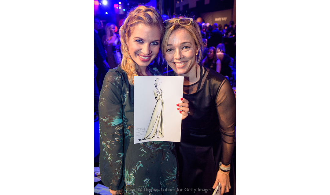 Live sketch event Virginia Romo Fashion Illustration at Tribute to Bambi Award 2017 with Susan Sideropoulos