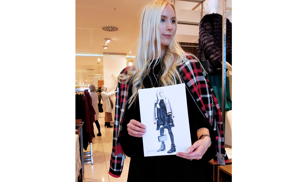 Live sketch event Virginia Romo Fashion Illustration for Riani in Breuninger