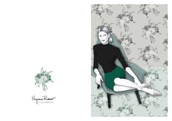 Virginia Romo Illustration - Greeting Card - Green Roses 4