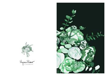 Virginia Romo Illustration - Greeting Card - Green Roses 3