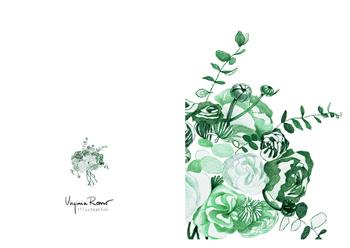 Virginia Romo Illustration - Greeting Card - Green Roses 2
