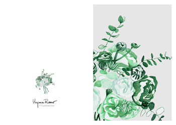 Virginia Romo Illustration - Greeting Card - Green Roses 1