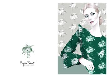 Virginia Romo Illustration - Greeting Card - Green Roses 5