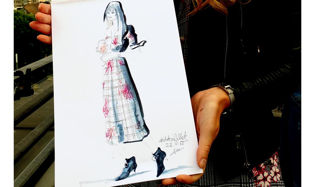 Live sketch event Virginia Romo Fashion Illustration for Lillet