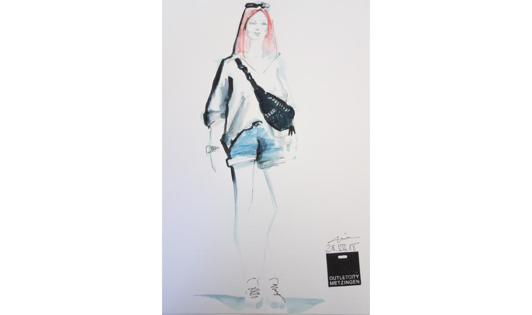 Live sketch event Virginia Romo Fashion Illustration for Outlet City Metzingen