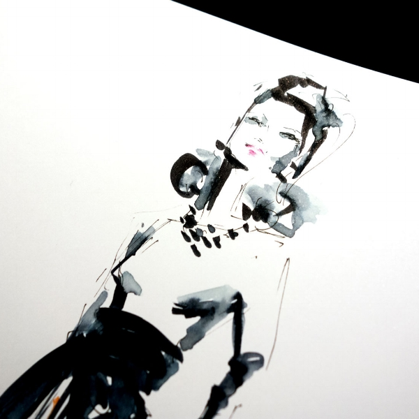 Virginia Romo Illustration - live sketch - Riani Baltz Bochum Frau Baltz 2.jpg