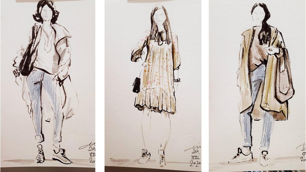 Autumn fashion sketching in Konen