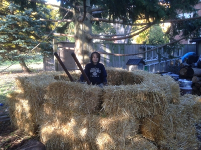 I order straw bales for my kids to play with — they're like giant biodegradable Lego blocks. They all become mulch eventually!