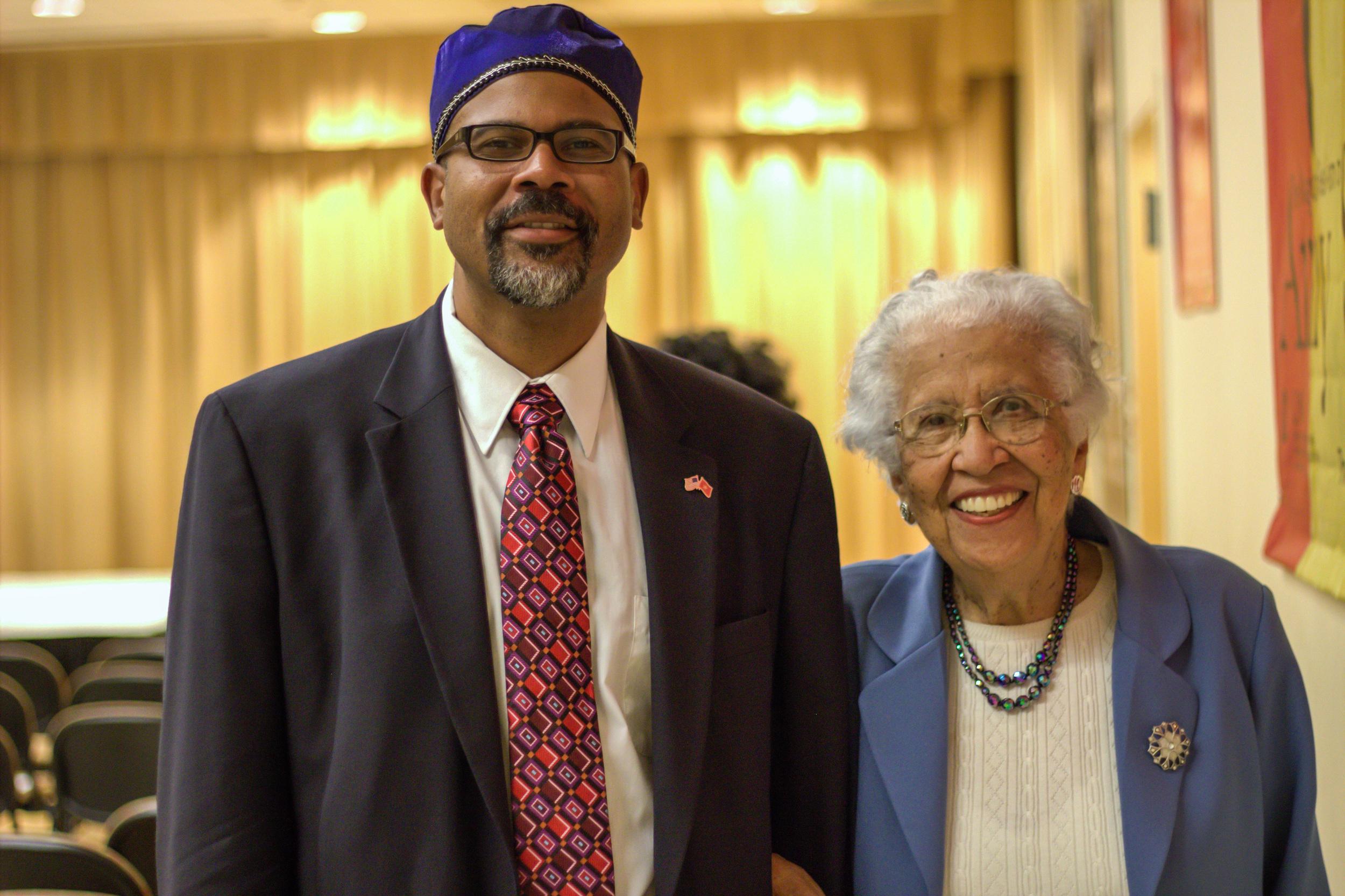 Hortense McClinton with son of Dr. Sonja Haynes Stone