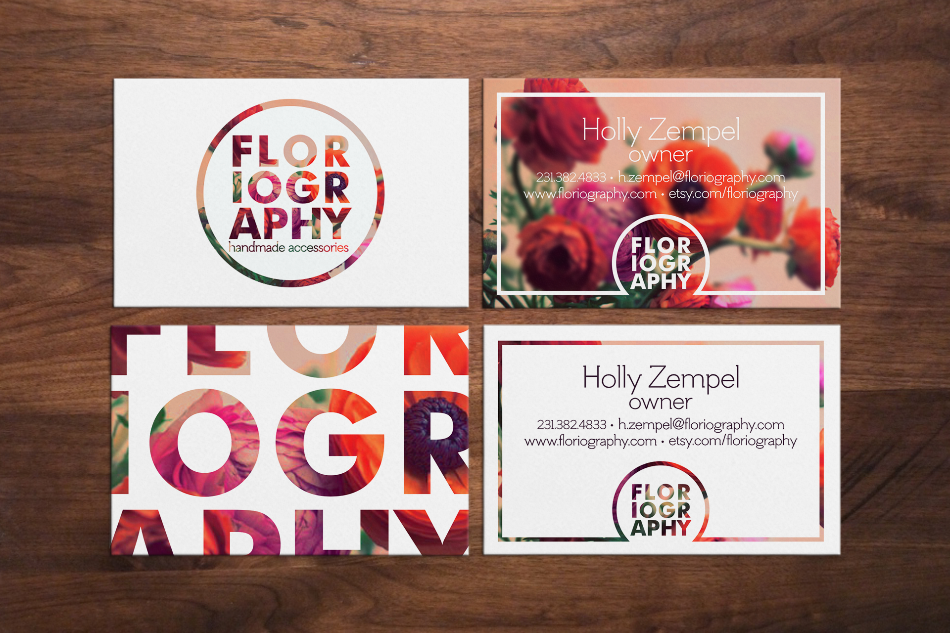 Business card front & back.