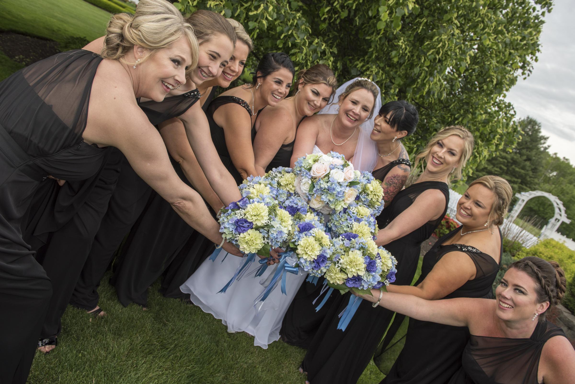 Bridesmaids with Bride-Farmington-The Farmington Club- Connecticut-Bridal bouquet-wedding photography