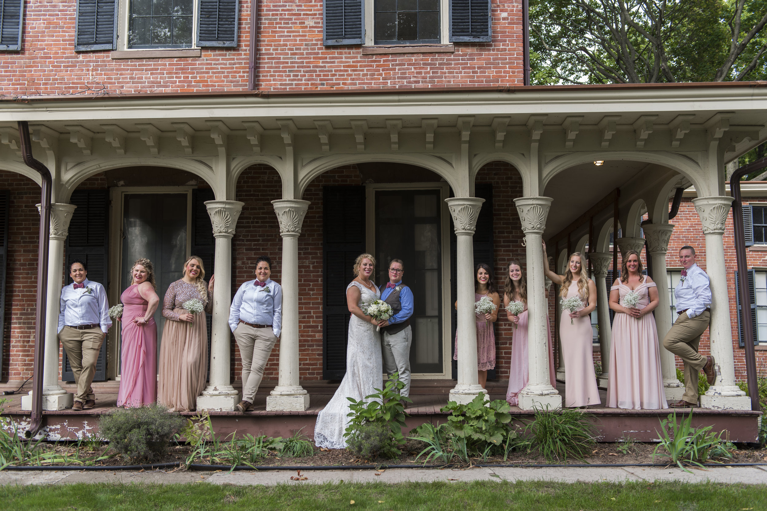LGBT wedding-OldWethersfield-Connecticut-The Webb Barn-Wethersfield Historical Society-Bridal Party
