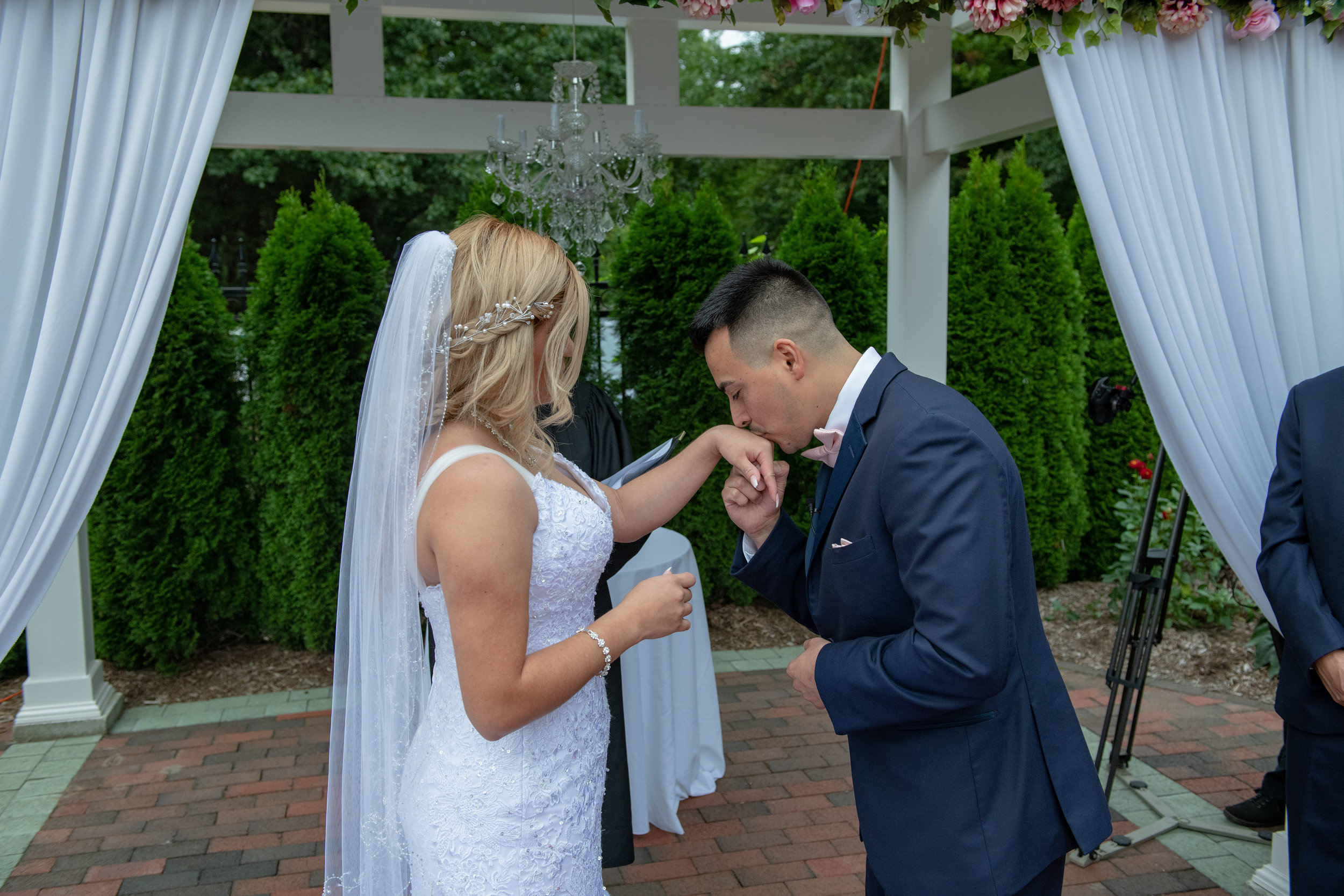 Freddy is so happy to see his bride Lily. - It was an emotional walk up the aisle for both of them. Very touching.