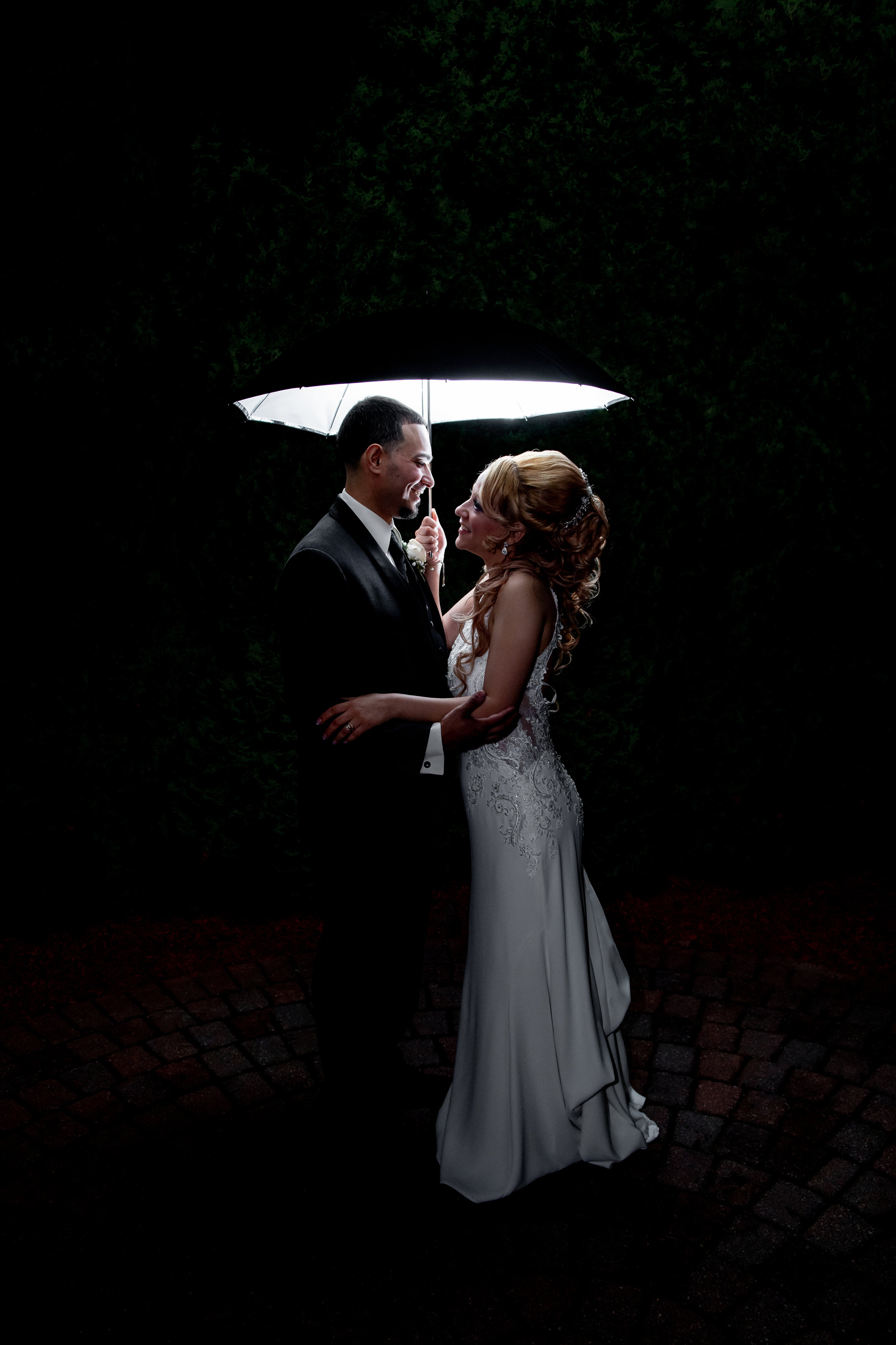 We took the couple out for 5 minutes during the reception to take a night time photo of them.