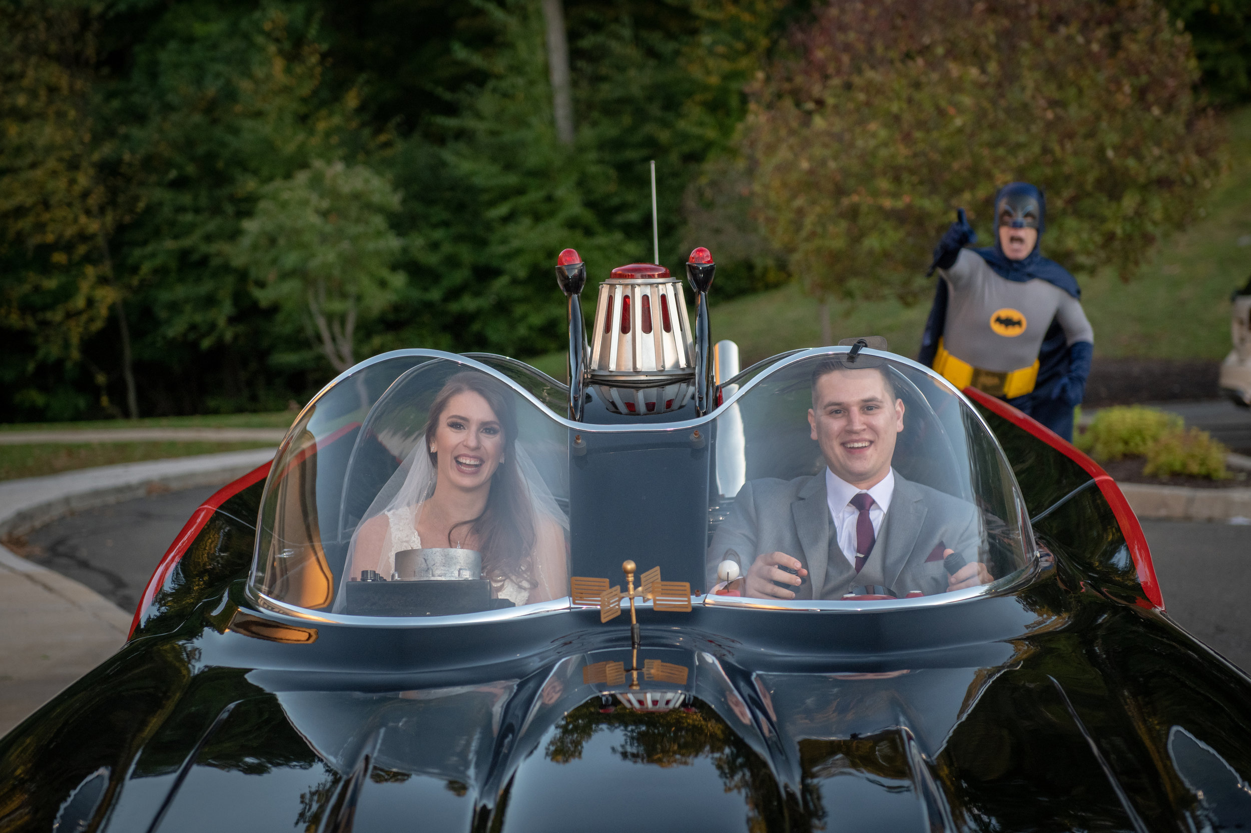 Bride and Groom with Batman at The Waterview