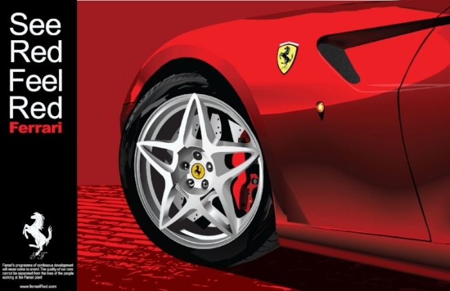 Concept Ferrari tag line and advertisement and full illustration