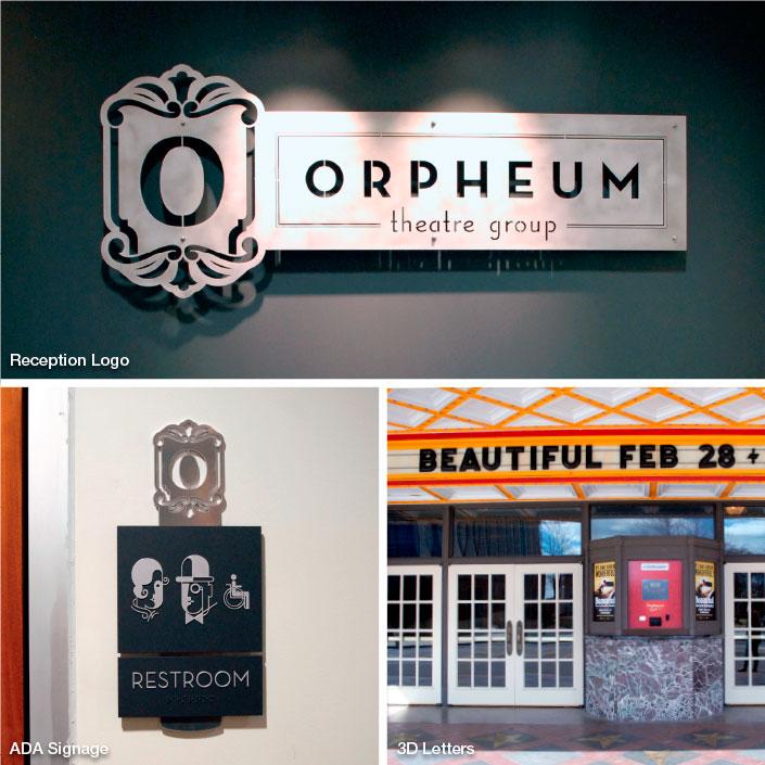Interior Signage and Dimensional Letters; Orpheum Theater, Memphis, TN; photo: Kristen Coles
