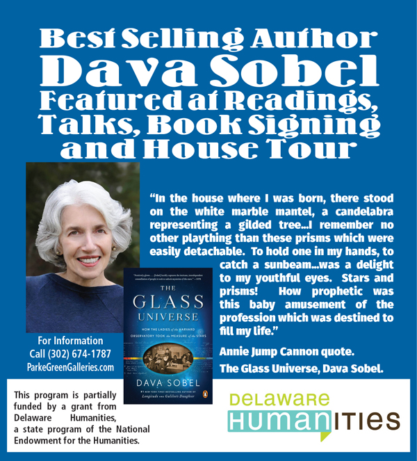 Dava Sobel, Author of The Glass Universe will be attending several book signings and talks in the region. Please check link to  download printable agenda  of locations for events.