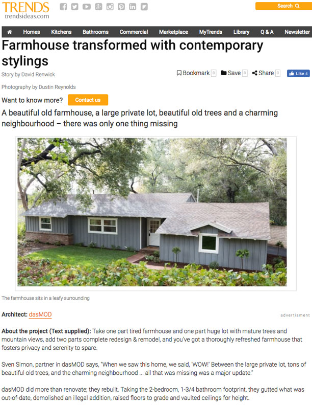 TRENDS   NOVEMBER 14, 2017  Farmhouse Transformed with Contemporary Stylings.