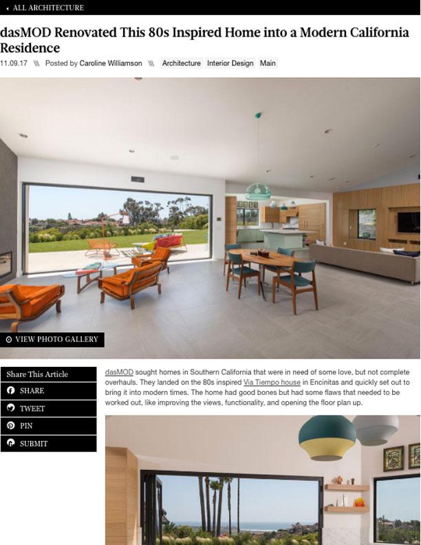 DESIGN MILK   NOVEMBER 9, 2017  dasMOD Renovated 80s Inspired Home into a Modern Residence.