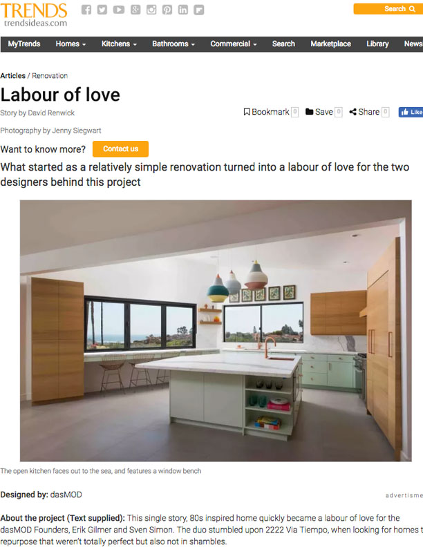 TRENDS   NOVEMBER 9, 2017  Labour of Love. Transition into a California cool, modern space.
