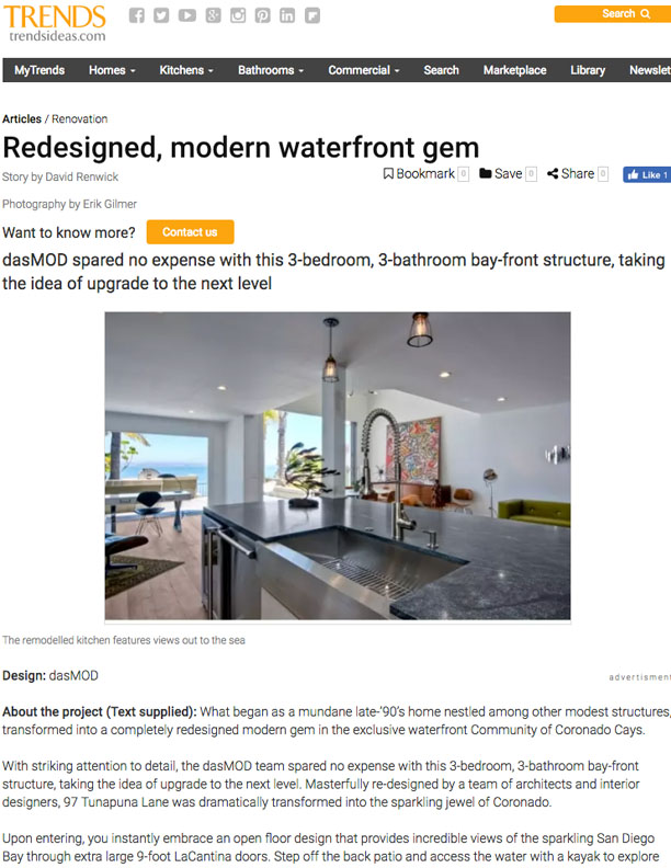 TRENDS   NOVEMBER 8, 2017  Redesigned Modern Waterfront Gem into the sparkling jewel of Coronado.