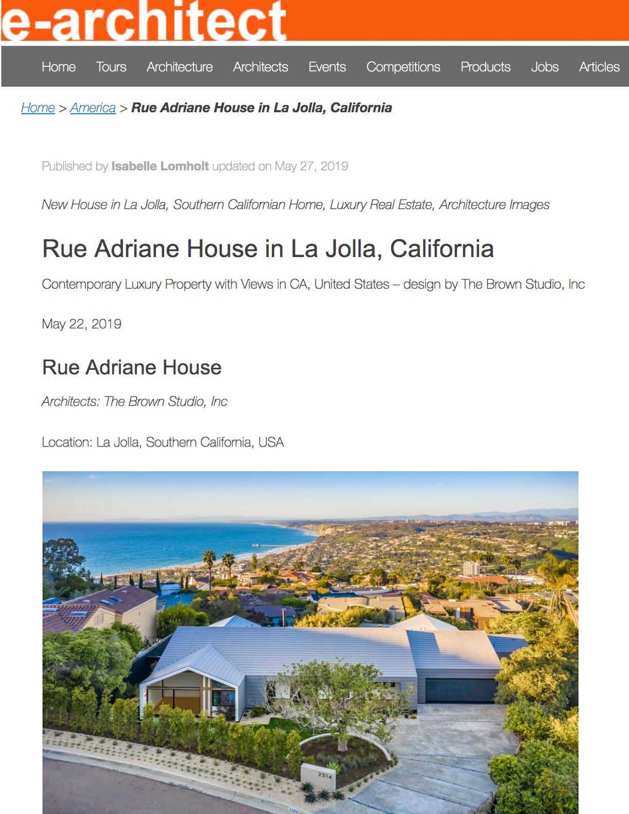 E-ARCHITECT   May 22, 2019  Contemporary Luxury Property with Views in CA.