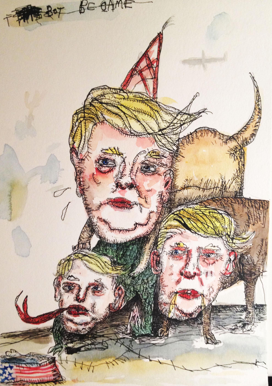 Cerebus-Trump, Ink & Water color, 15x 11in, 2016
