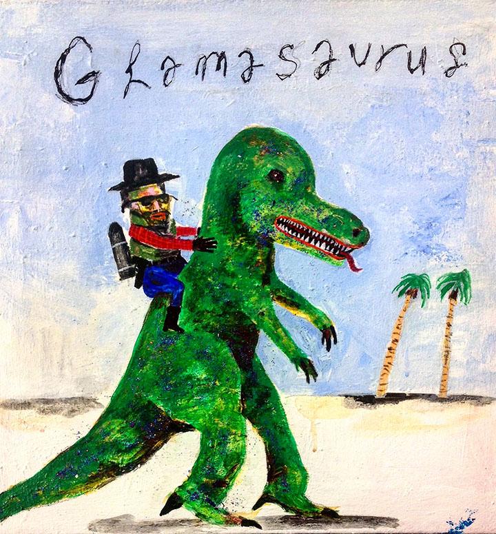Glamasaurus, Acrylic & Glitteron Canvas, 24in x 24in, 2017