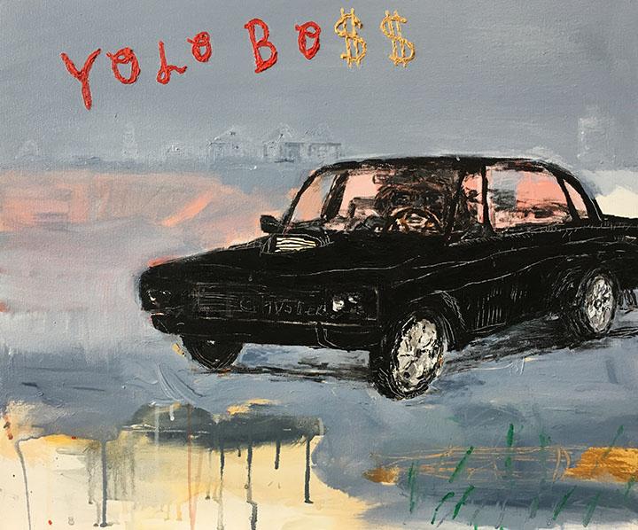 Yolo-Bo$$, Acrylic on Canvas, 24in x 30in, 2017
