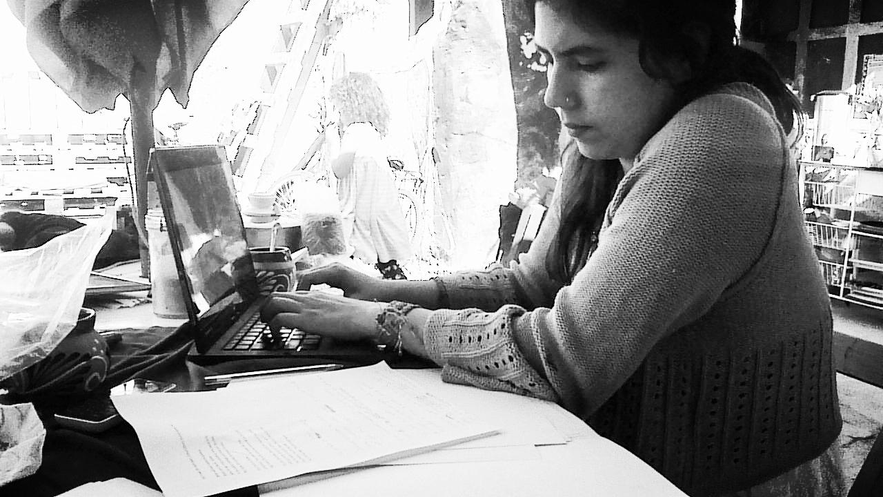 Poet, Adriana Toledano Kolteniuk,translating my poems.