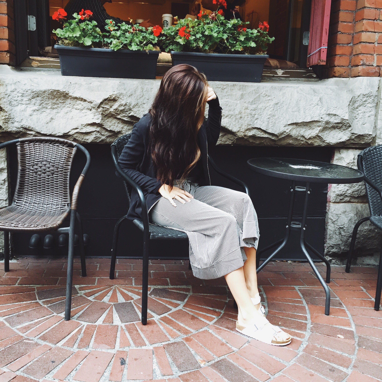 jacket: nordstrom; culottes: Zara; shoes: steve madden; shirt (unseen): topshop