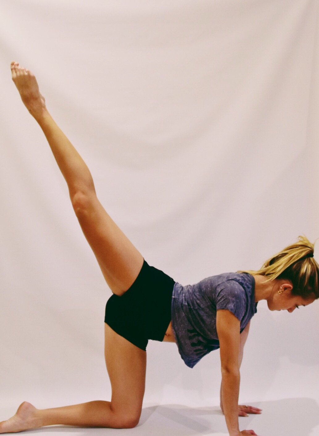start with knee bent in and extend up to this position (however high or low it may be)