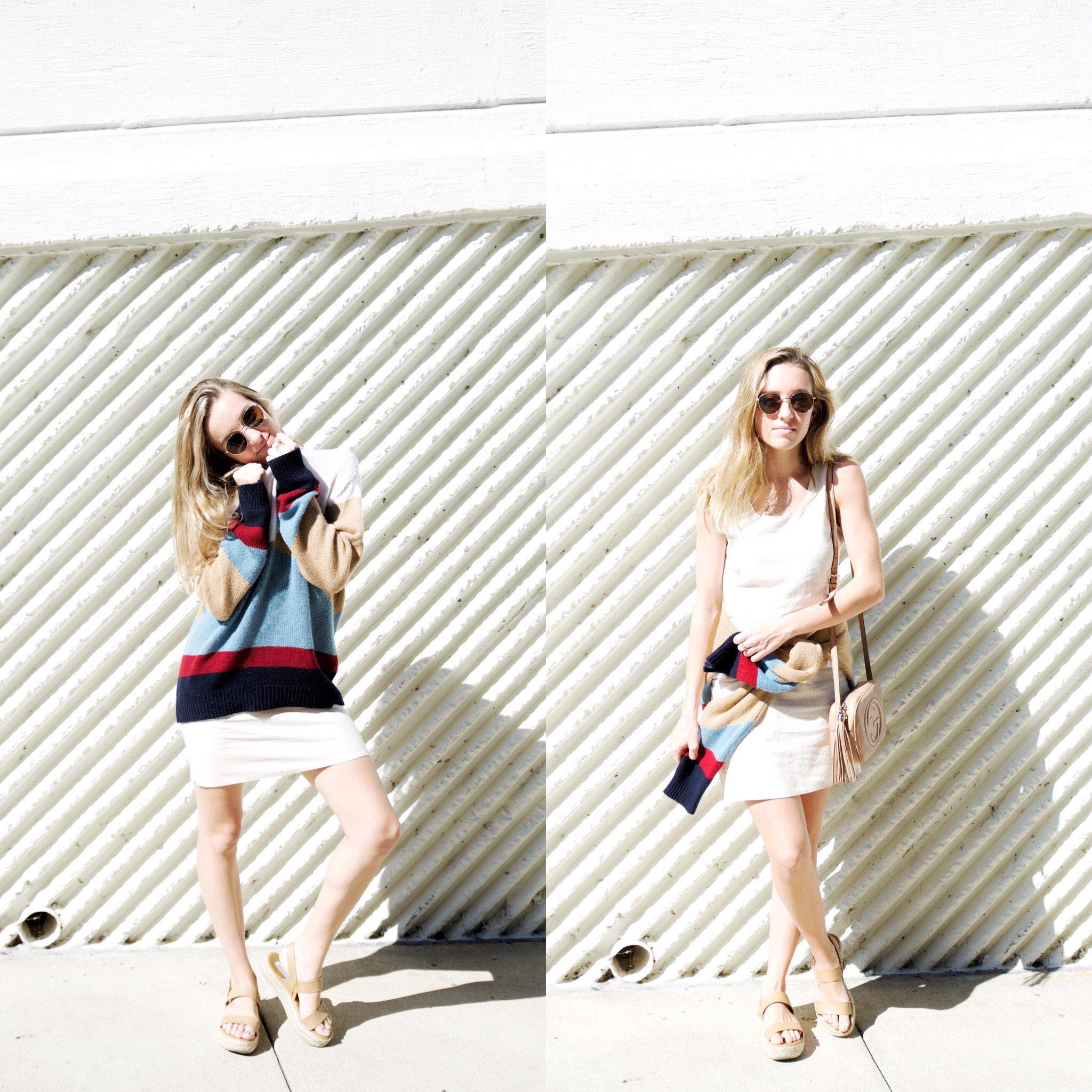 sweater: valentino, dress: topknot vintage, bag: gucci, shoes: steve madden, sunglasses: madewell