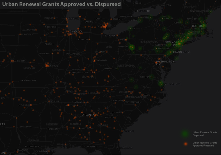 Using a blend of federal and local data, we are mapping the roughly 4,000 Urban Renewal projects funded by the federal government between 1949 and 1974. By the late 1960s, according to one estimate, Urban Renewal was displacing some 66,000 families annually, a burden disproportionately born by minority residents. In addition to including a series of local case studies, our national map will offer data over time by city for all programs, including federal expenditures, non-white v. white families displaced, as well changes in urban land use by zoning category (e.g., residential, commercial, or industrial).