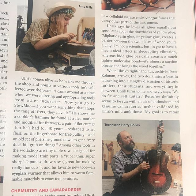 Here's the shop featured in the September/October issue of Acoustic Guitar magazine! Thanks @acousticguitarmag for coming to visit the new space.  #acousticguitar#repair#photoshoot