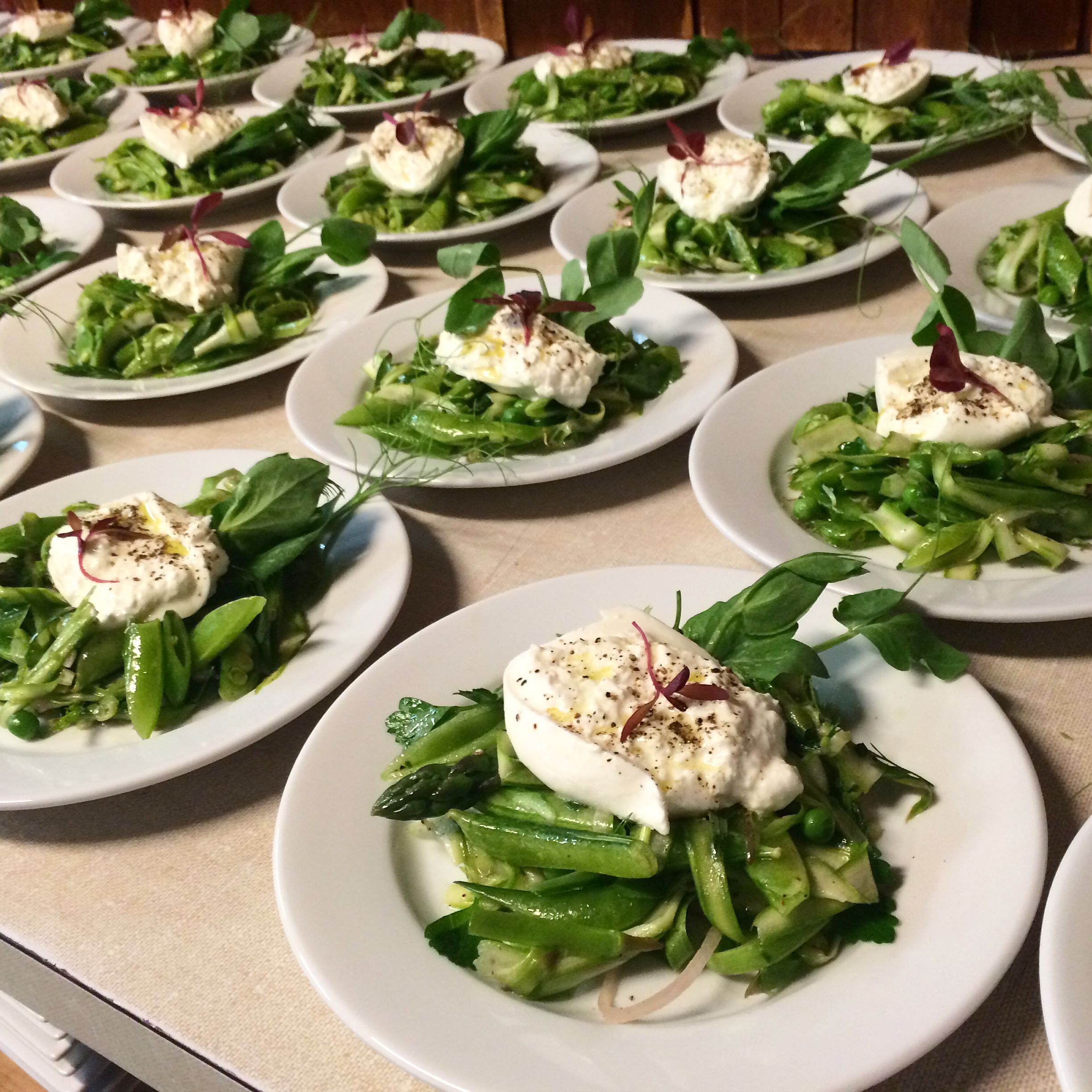 Burrata with Peas, Shaved Asparagus, Tendrils, and Herbs