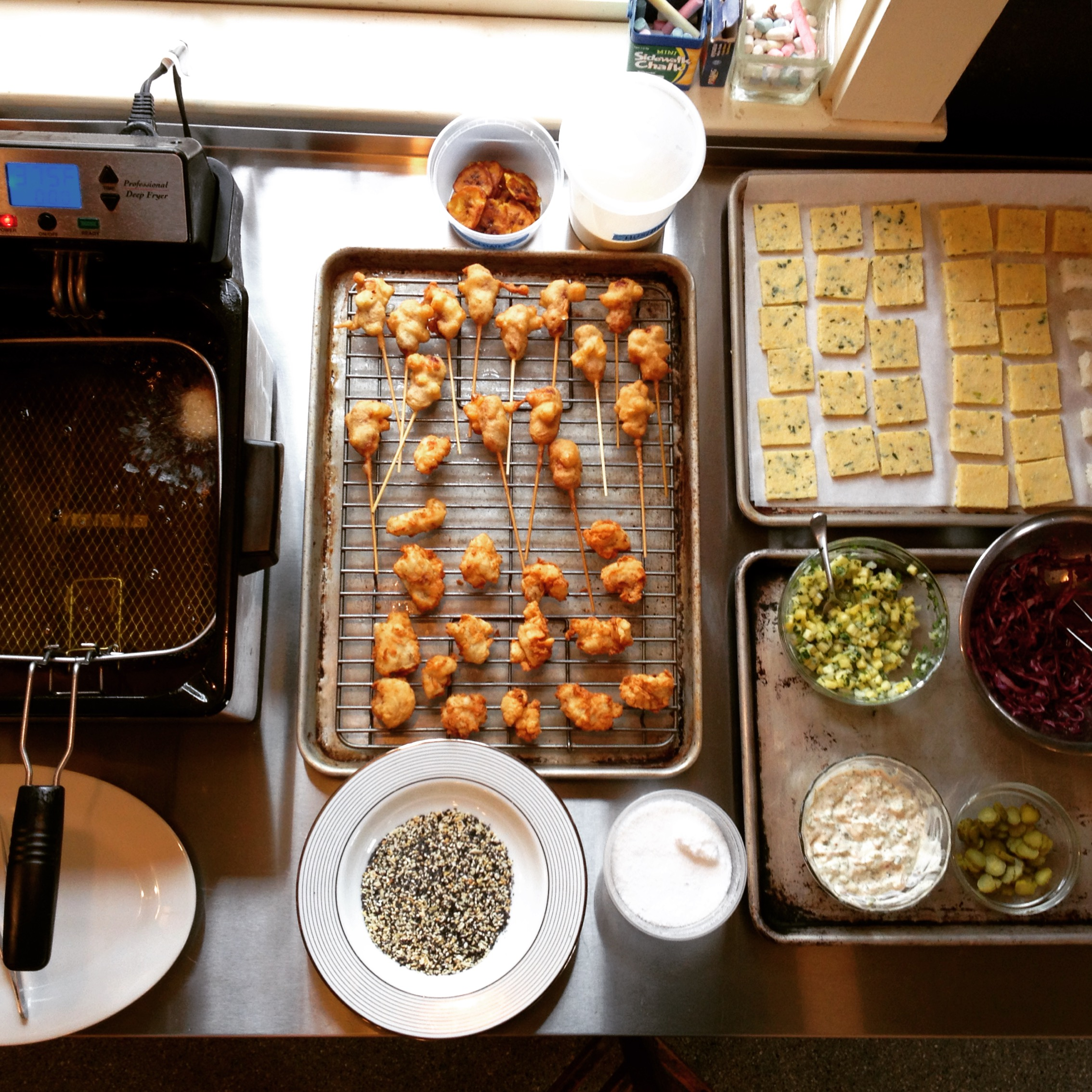 Mise en place for our staff tasting.| Trillium Caterers, Belfast, Maine