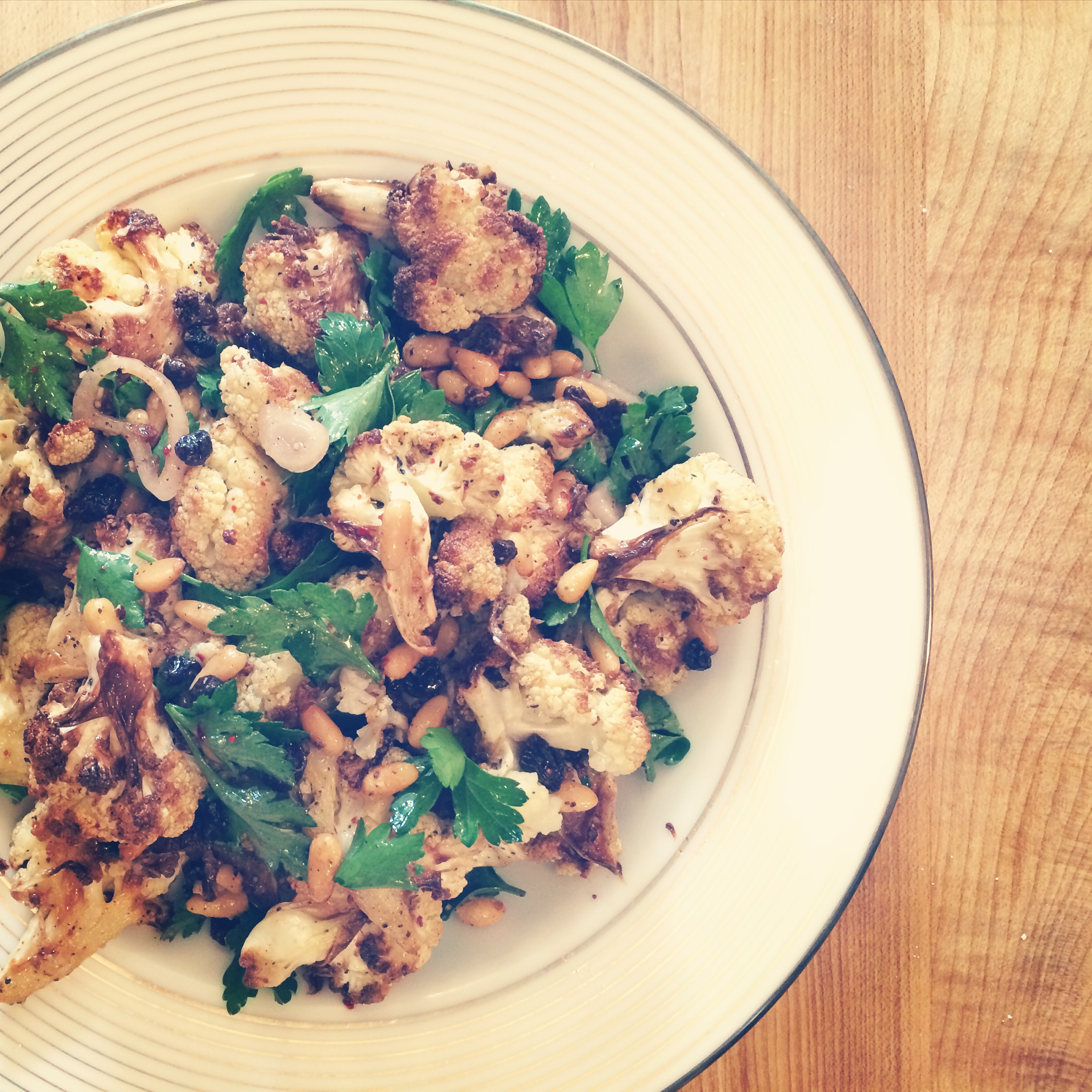 Roasted Cauliflower with Pine Nuts, Currants, and Parsley | Trillium Caterers, Belfast, Maine