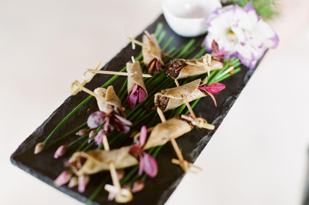Green Tea Crepes with Braised Korean Short Rib | Trillium Caterers