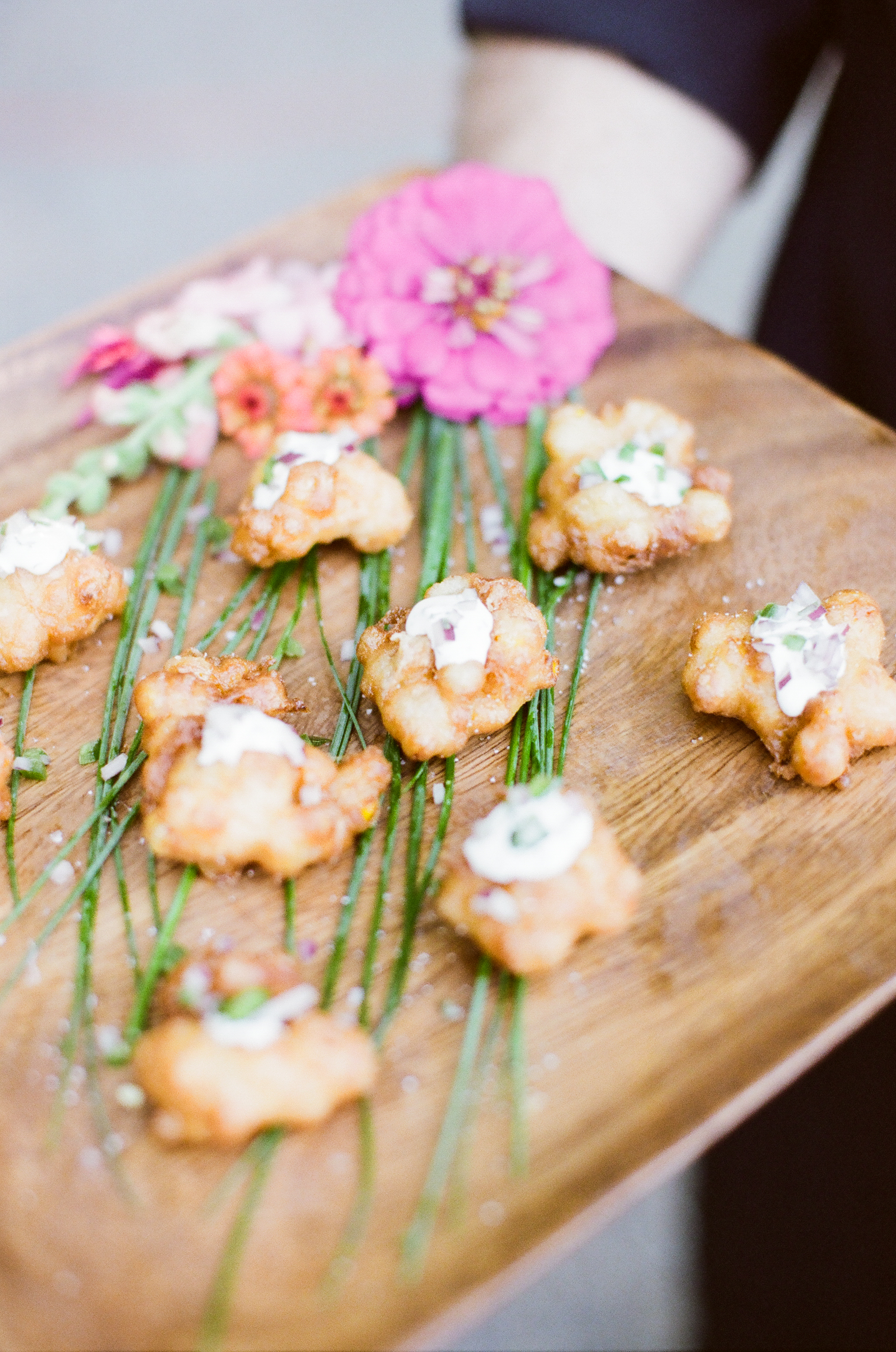 Corn Fritters with Crema  | Trillium Caterers