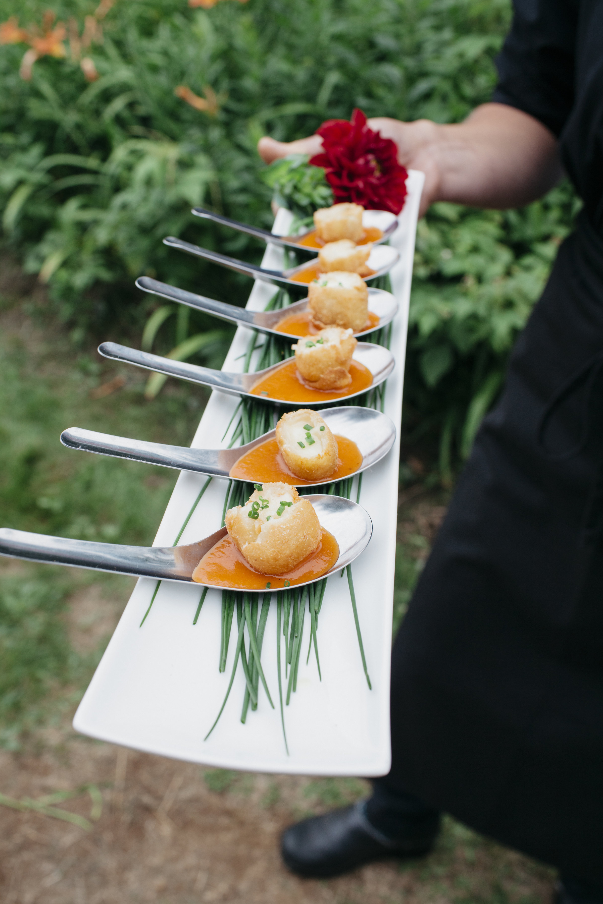 Grilled Cheese Dumplings with Tomato Soup  ©Leah Fisher Photography