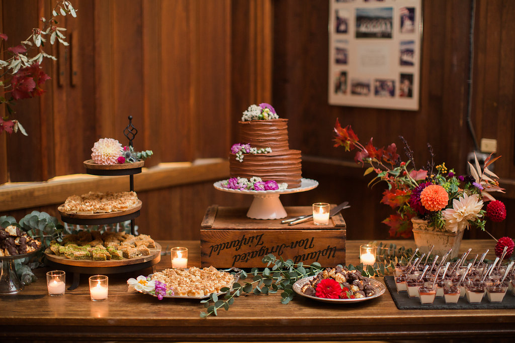 A two tiered cake makes a beautiful addition to a dessert bites display.©Meredith Perdue