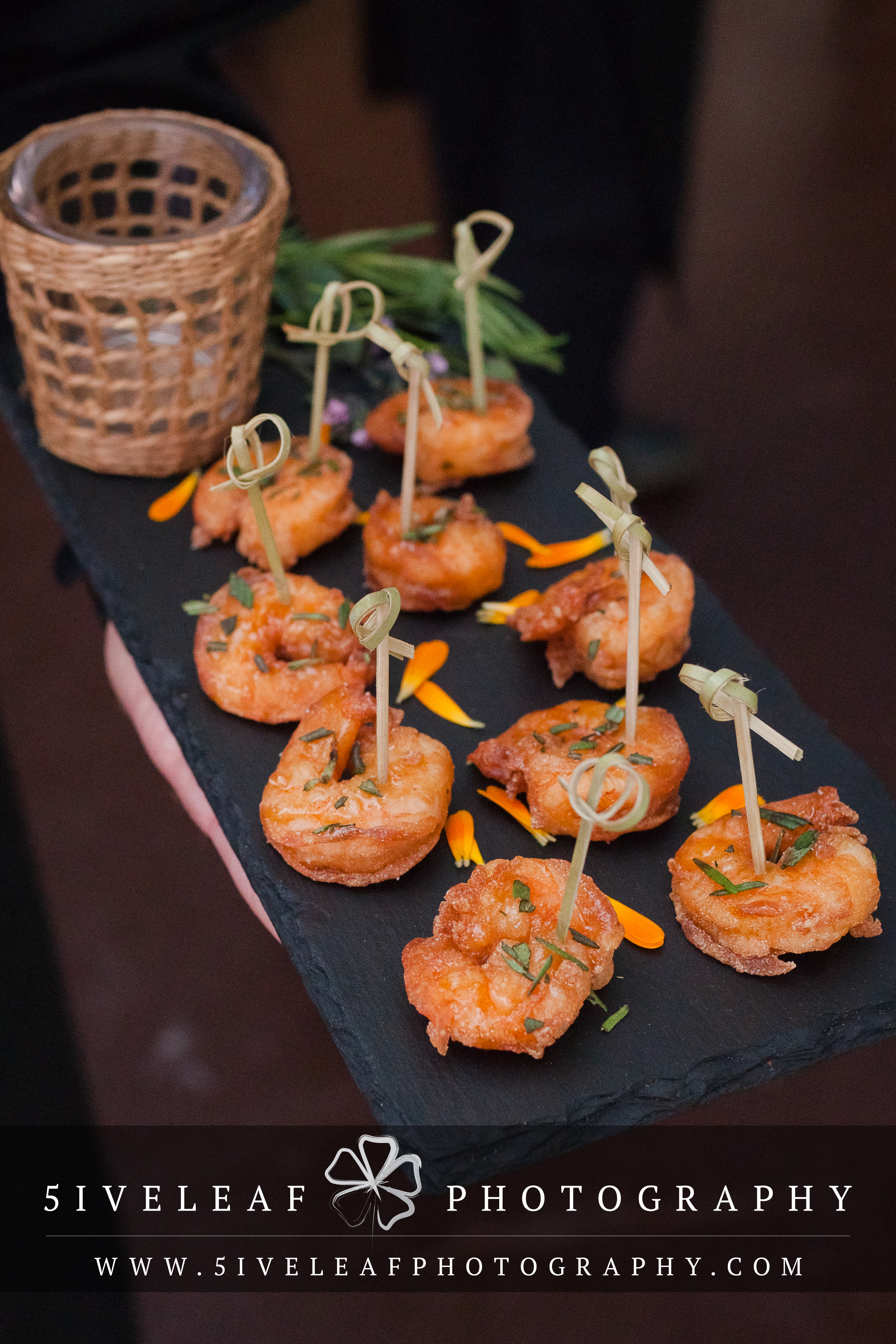 Crispy shrimp with rosemary honey. ©5iveLeaf Design