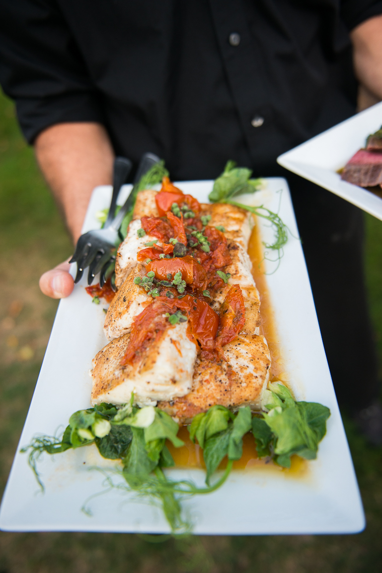 Seared Halibut with Roasted Tomato Vinaigrette and Marjoram