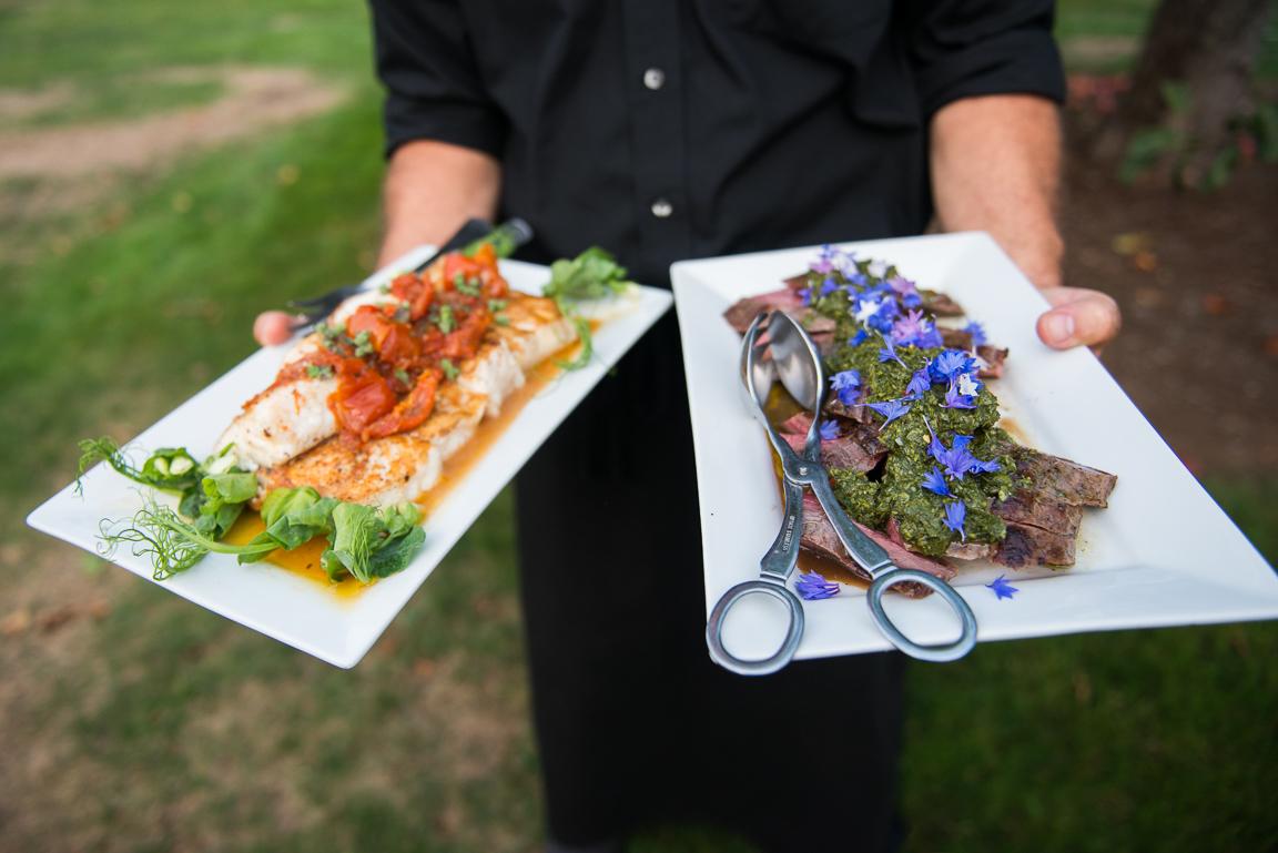 Seared Halibut & Flank Steak with Chimichurri