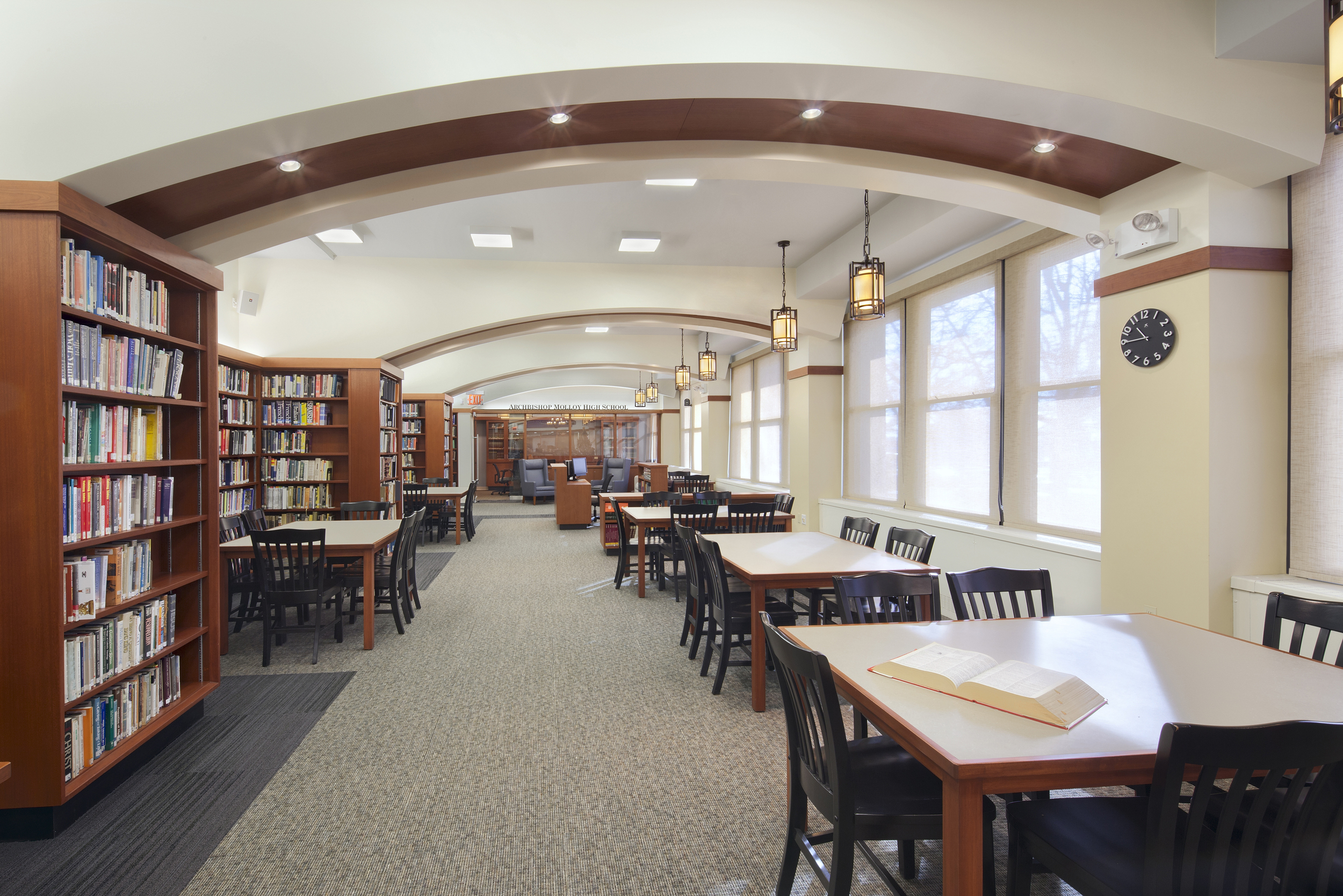 Archbishop Molloy High School. Tobin Parnes Design. Queens, New York. Cultural and Institutional. Library. Study Area.