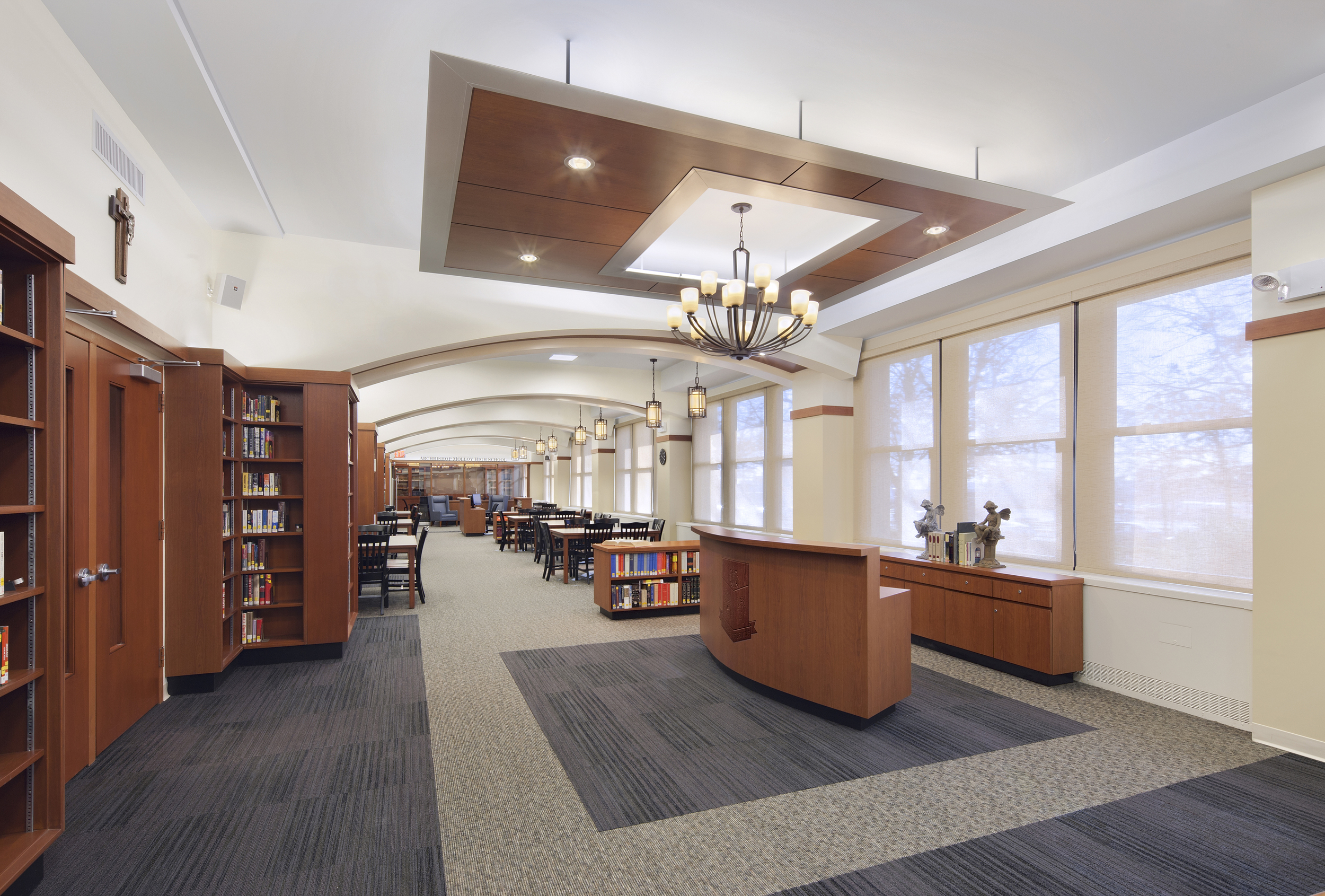 Archbishop Molloy High School. Tobin Parnes Design. Queens, New York. Cultural and Institutional. Library. Entry.